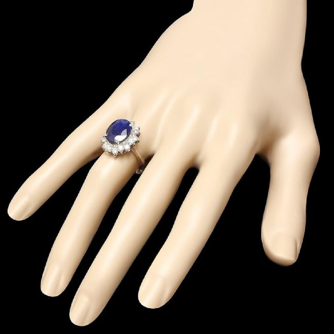 14k Gold 5.52ct Sapphire 0.90ct Diamond Ring - 3