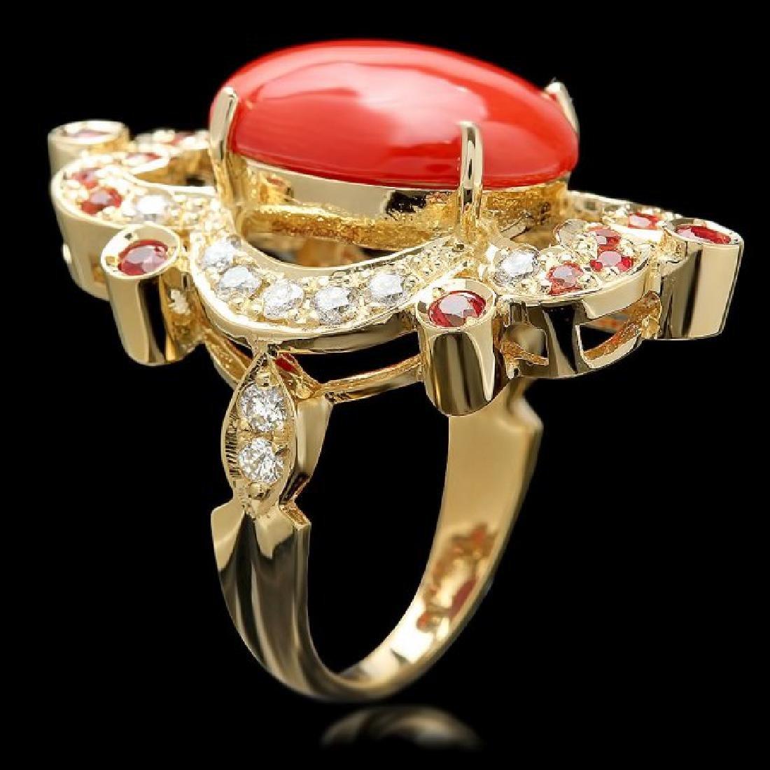 14k Yellow Gold 6.00ct Coral 0.70ct Diamond Ring - 3