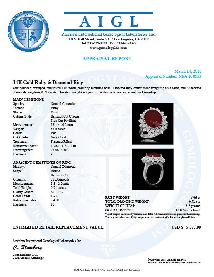 14K Gold 6.06ct Ruby 0.71ct Diamond Ring - 5