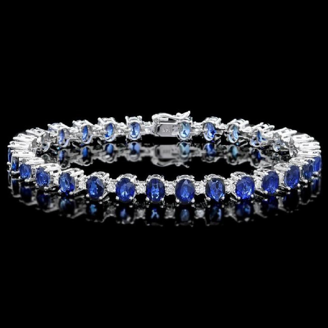 14k Gold 19.00ct Sapphire 2.00ct Diamond Bracelet