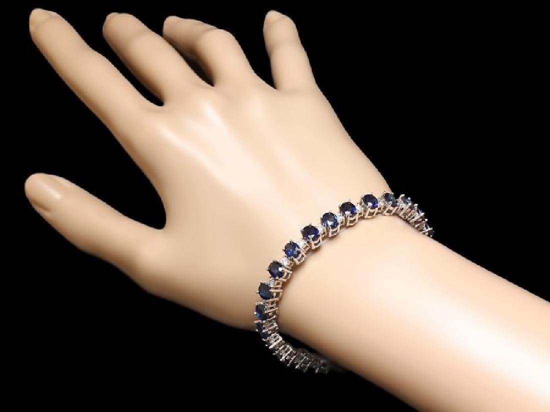 14k Gold 19.00ct Sapphire 2.00ct Diamond Bracelet - 4