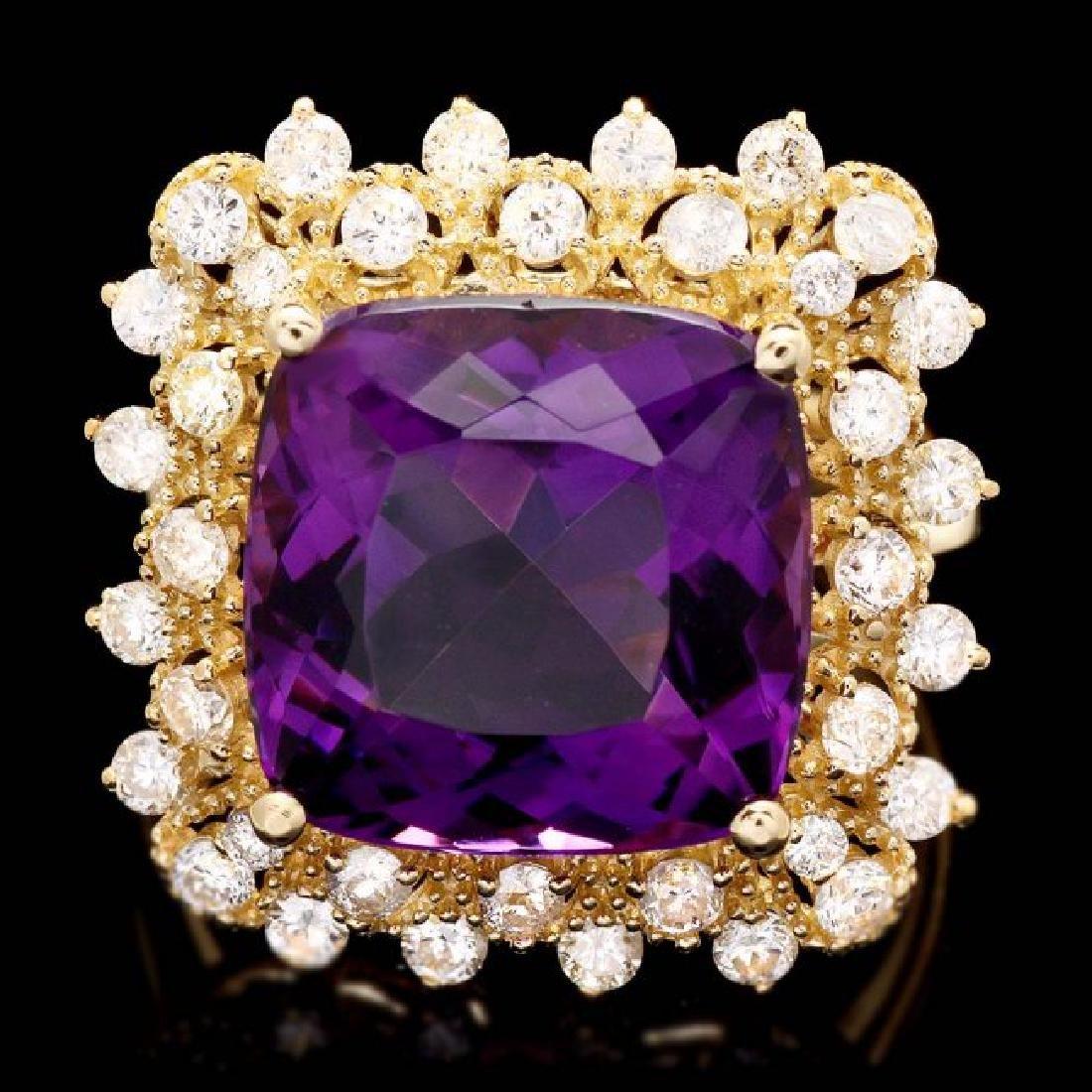 14k Gold 7.30ct Amethyst 1.00ct Diamond Ring