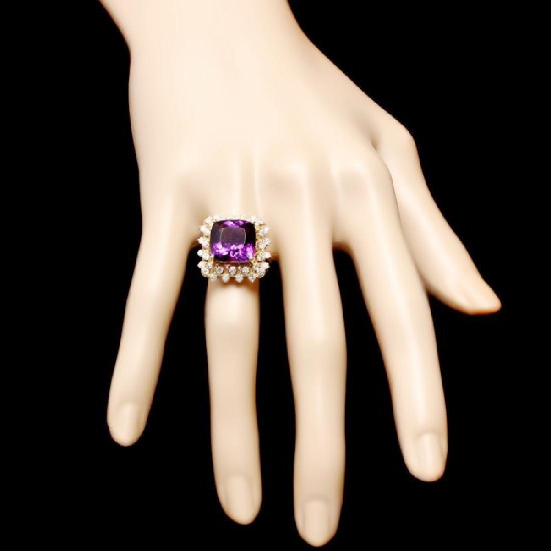 14k Gold 7.30ct Amethyst 1.00ct Diamond Ring - 4