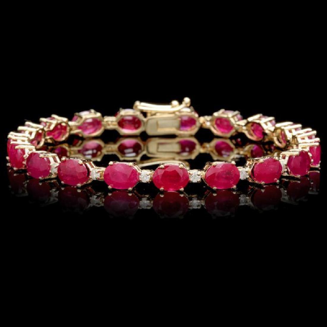 14k Gold 23.50ct Ruby 0.80ct Diamond Bracelet