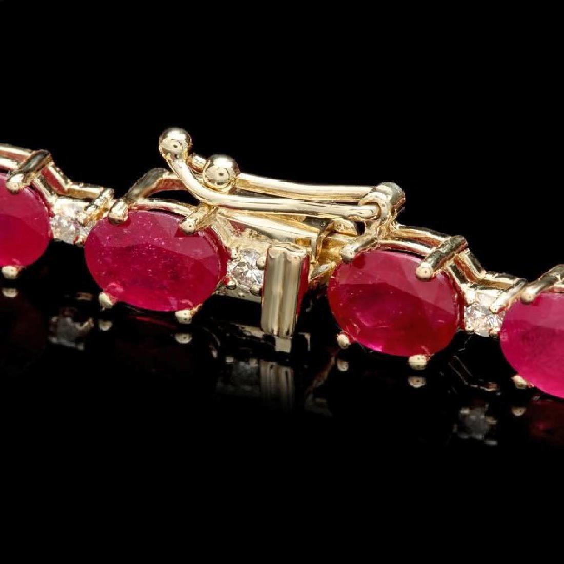 14k Gold 23.50ct Ruby 0.80ct Diamond Bracelet - 2