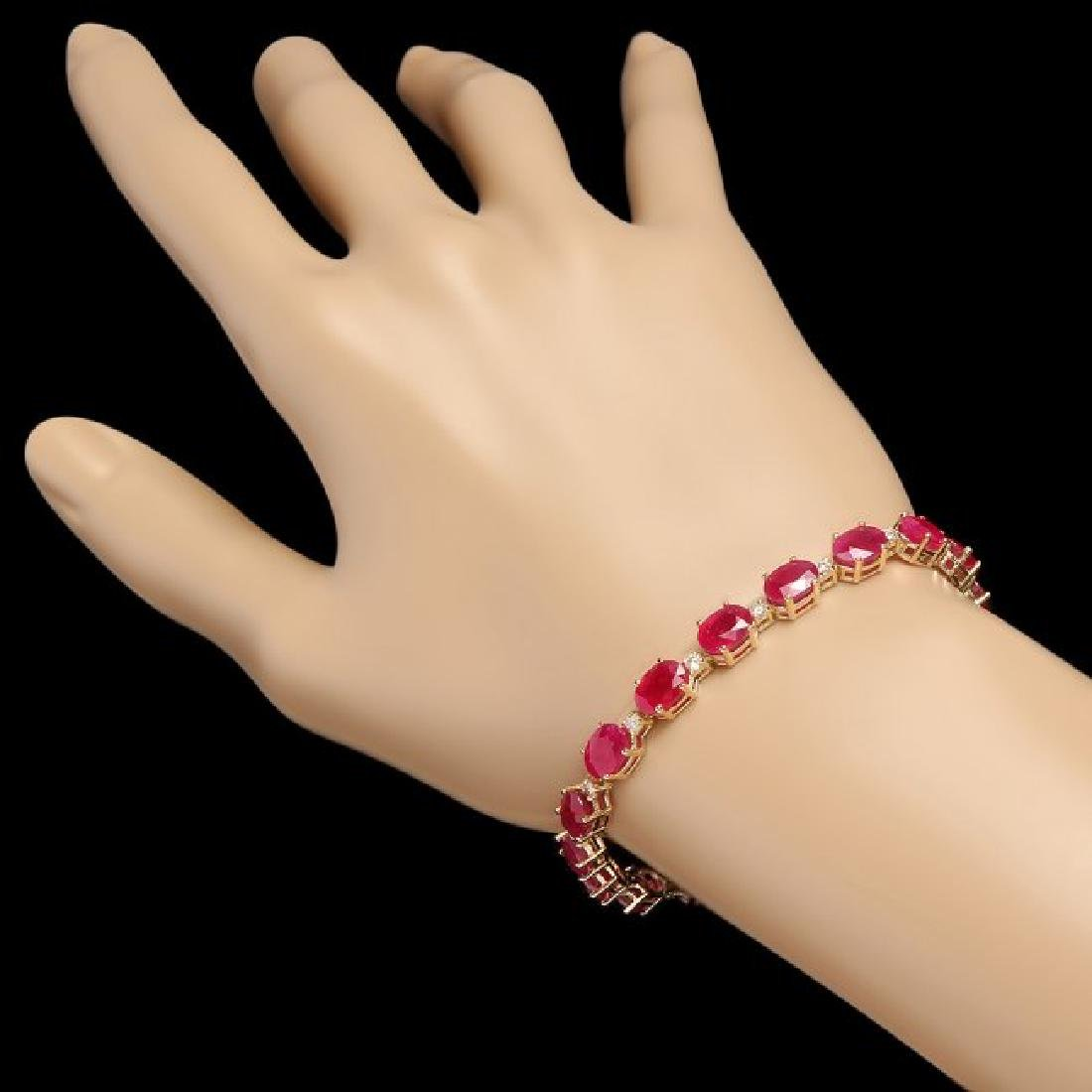 14k Gold 23.50ct Ruby 0.80ct Diamond Bracelet - 3