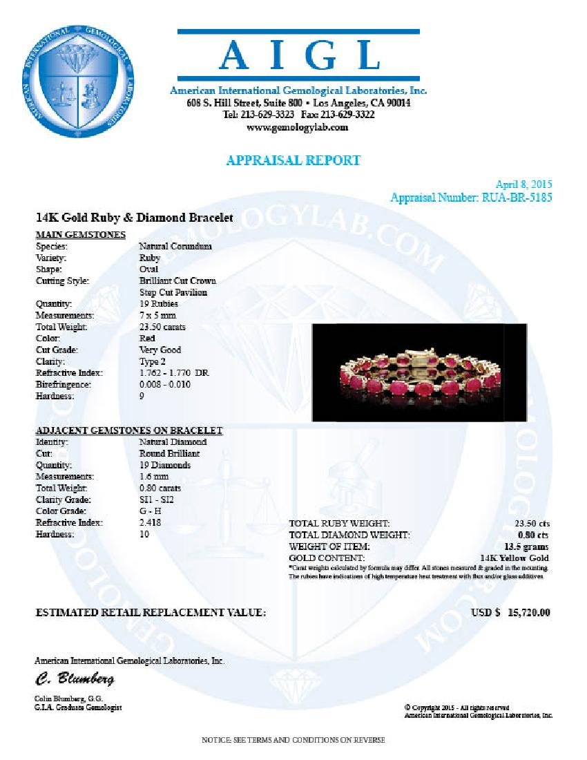 14k Gold 23.50ct Ruby 0.80ct Diamond Bracelet - 4