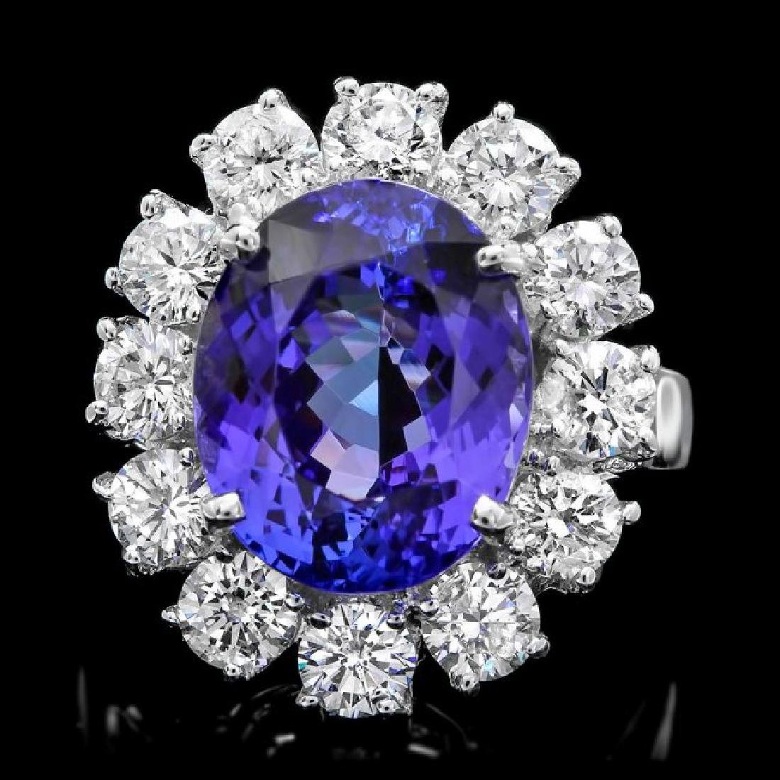 14k Gold 7.50ct Tanzanite 2.50ct Diamond Ring