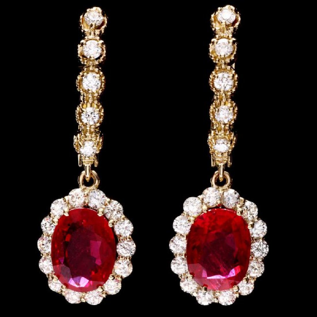 14k Gold 5.00ct Ruby 1.45ct Diamond Earrings