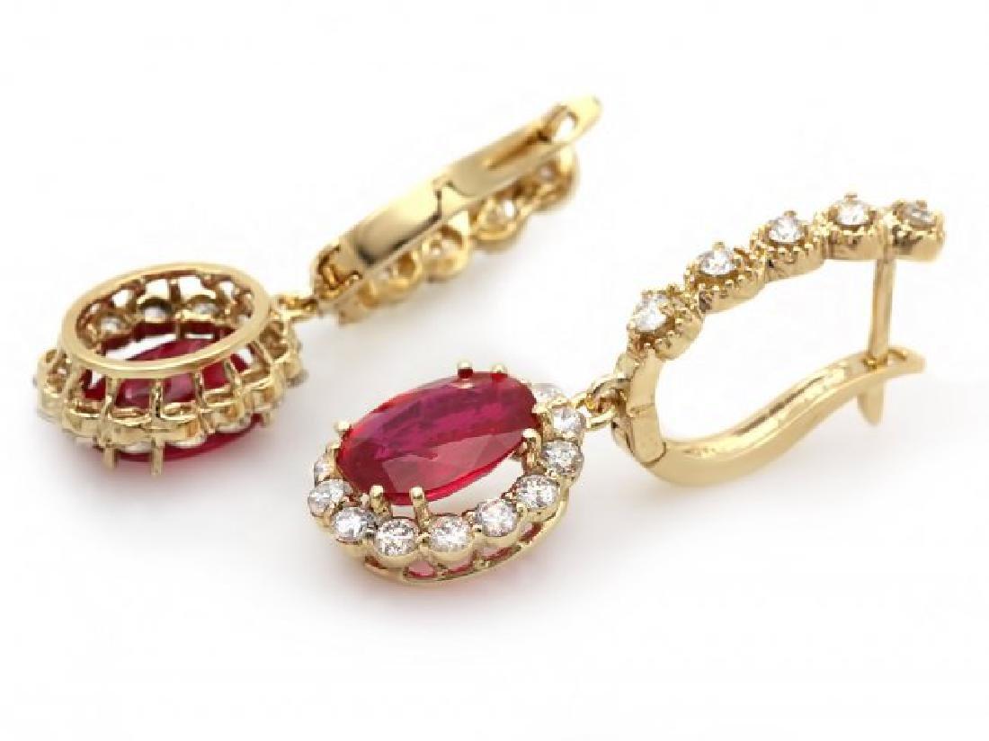 14k Gold 5.00ct Ruby 1.45ct Diamond Earrings - 2