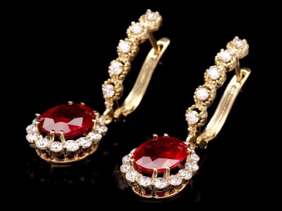 14k Gold 5.00ct Ruby 1.45ct Diamond Earrings - 3