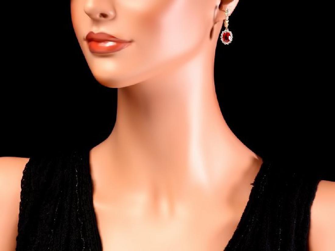 14k Gold 5.00ct Ruby 1.45ct Diamond Earrings - 4