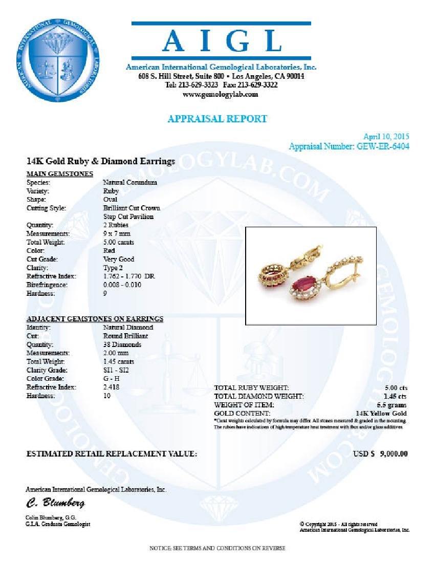 14k Gold 5.00ct Ruby 1.45ct Diamond Earrings - 5