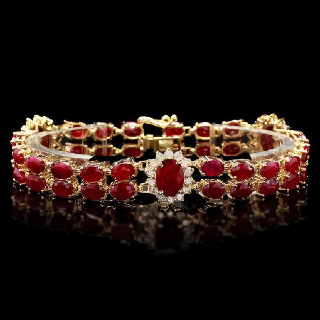 14k Gold 31.5ct Ruby 1.70ct Diamond Bracelet