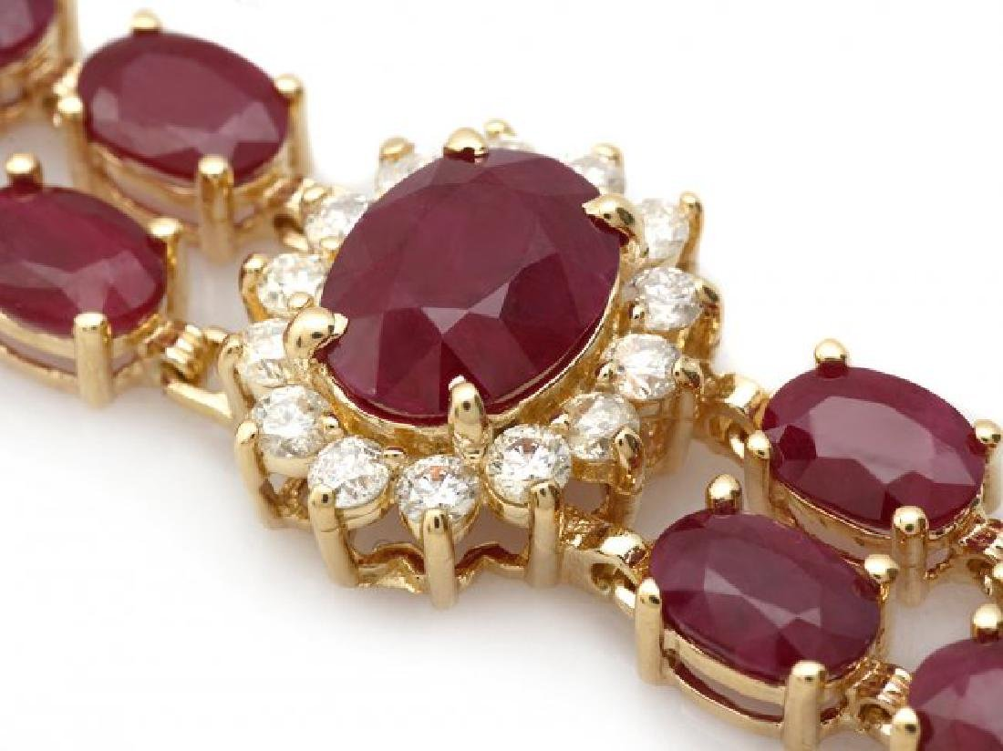 14k Gold 31.5ct Ruby 1.70ct Diamond Bracelet - 2