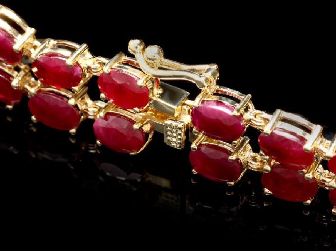 14k Gold 31.5ct Ruby 1.70ct Diamond Bracelet - 3