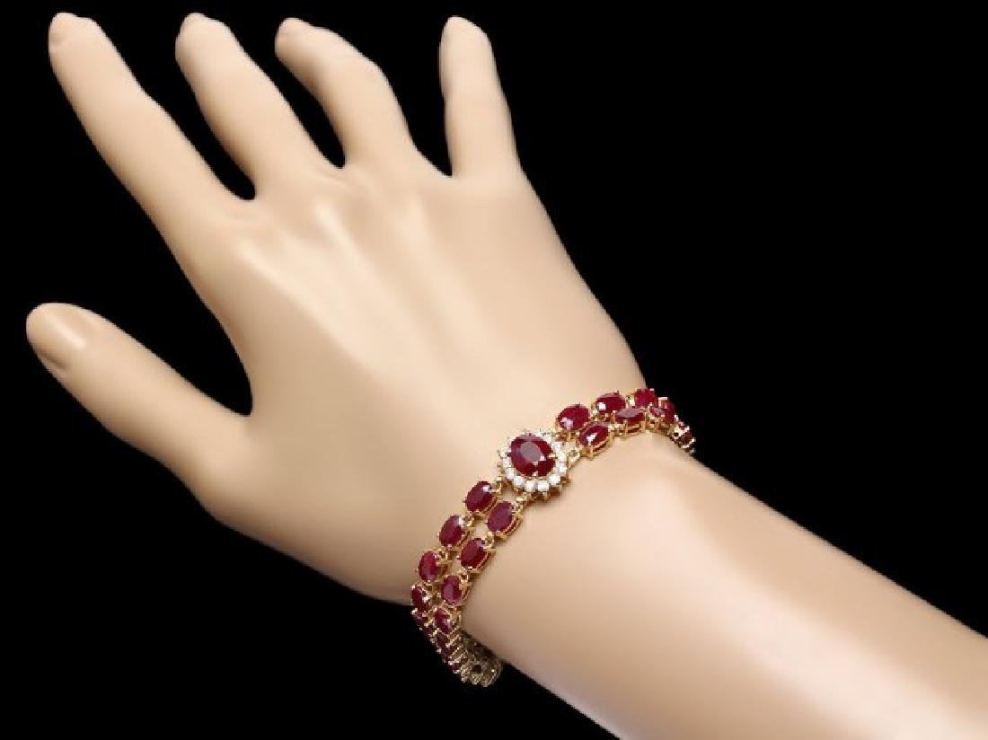 14k Gold 31.5ct Ruby 1.70ct Diamond Bracelet - 4