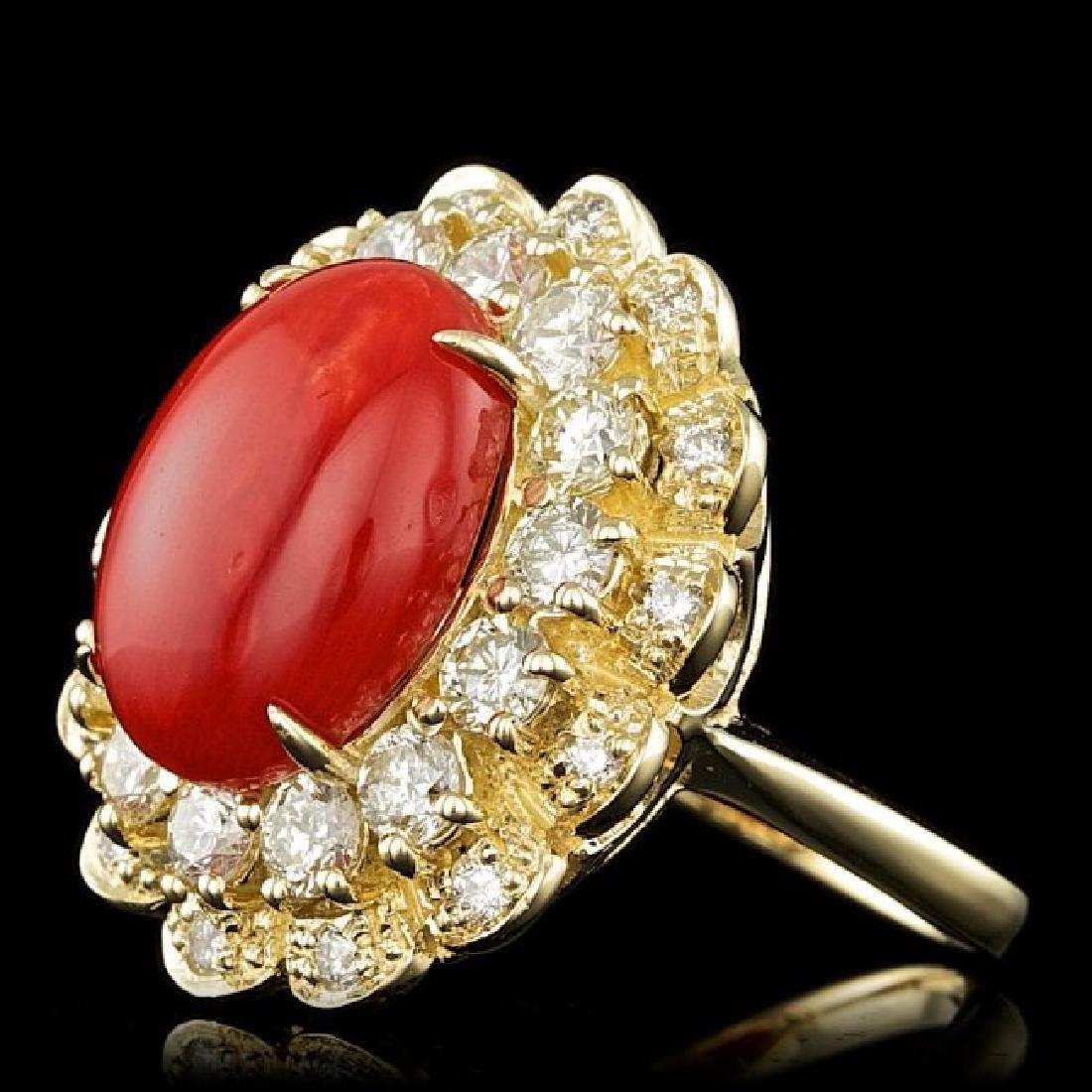 14k Yellow Gold 5.00ct Coral 1.80ct Diamond Ring - 2