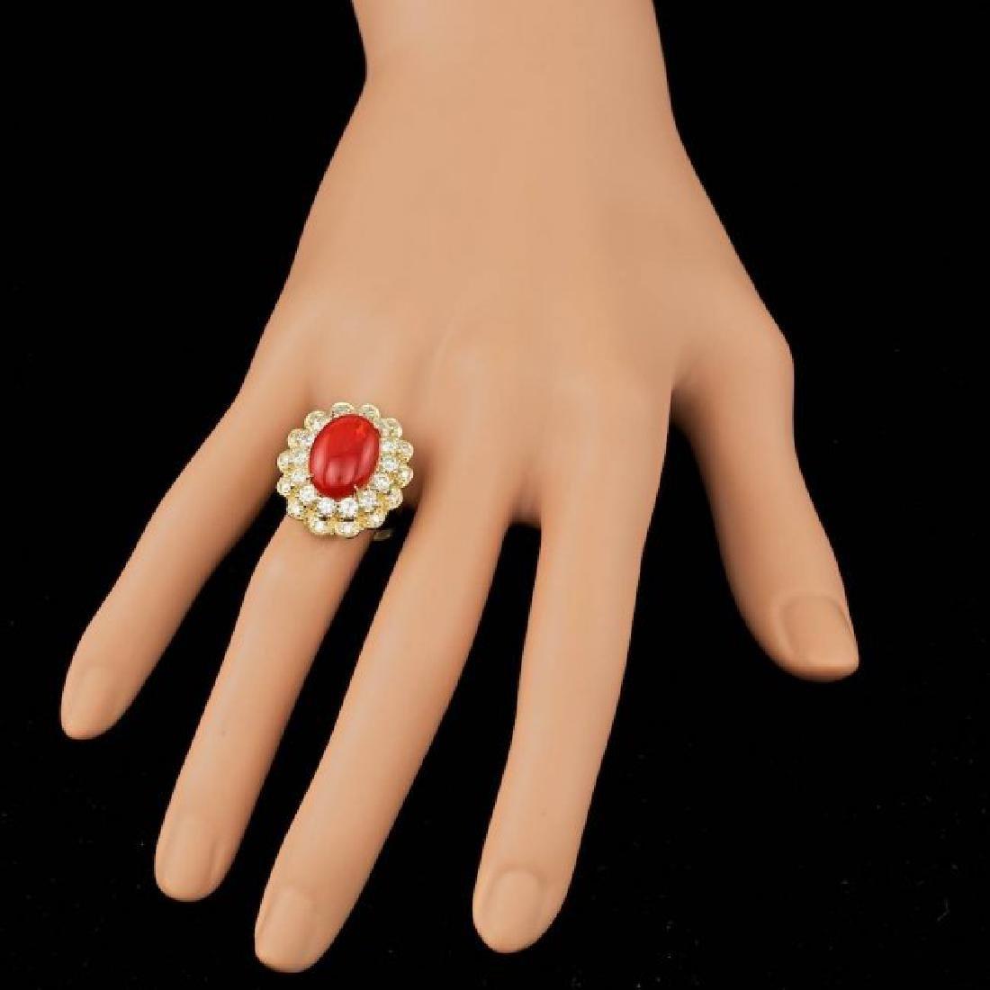14k Yellow Gold 5.00ct Coral 1.80ct Diamond Ring - 4