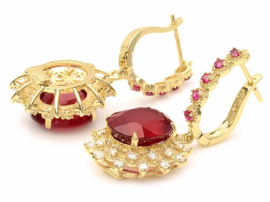 14k Gold 14.4ct Ruby 1.20ct Diamond Earrings - 2