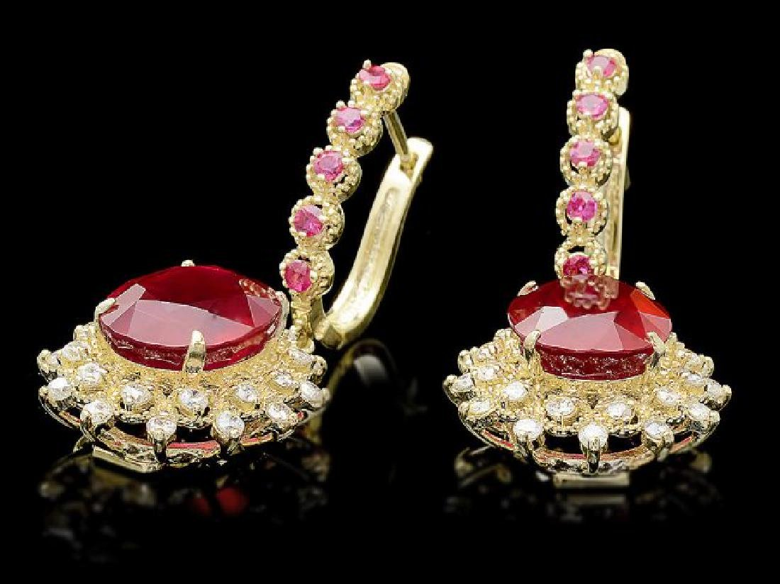14k Gold 14.4ct Ruby 1.20ct Diamond Earrings - 3