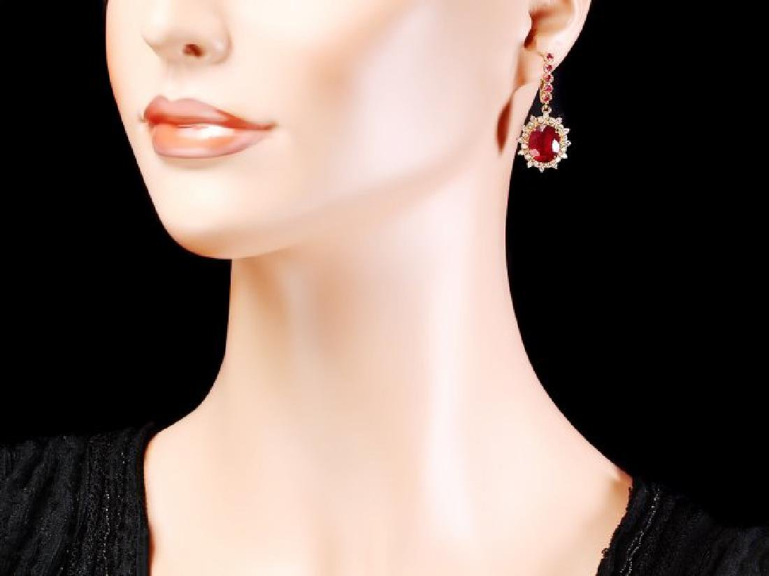 14k Gold 14.4ct Ruby 1.20ct Diamond Earrings - 4