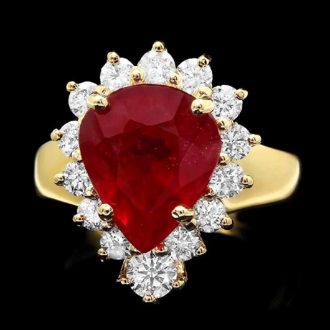 14k Yellow Gold 6.00ct Ruby 1.20ct Diamond Ring