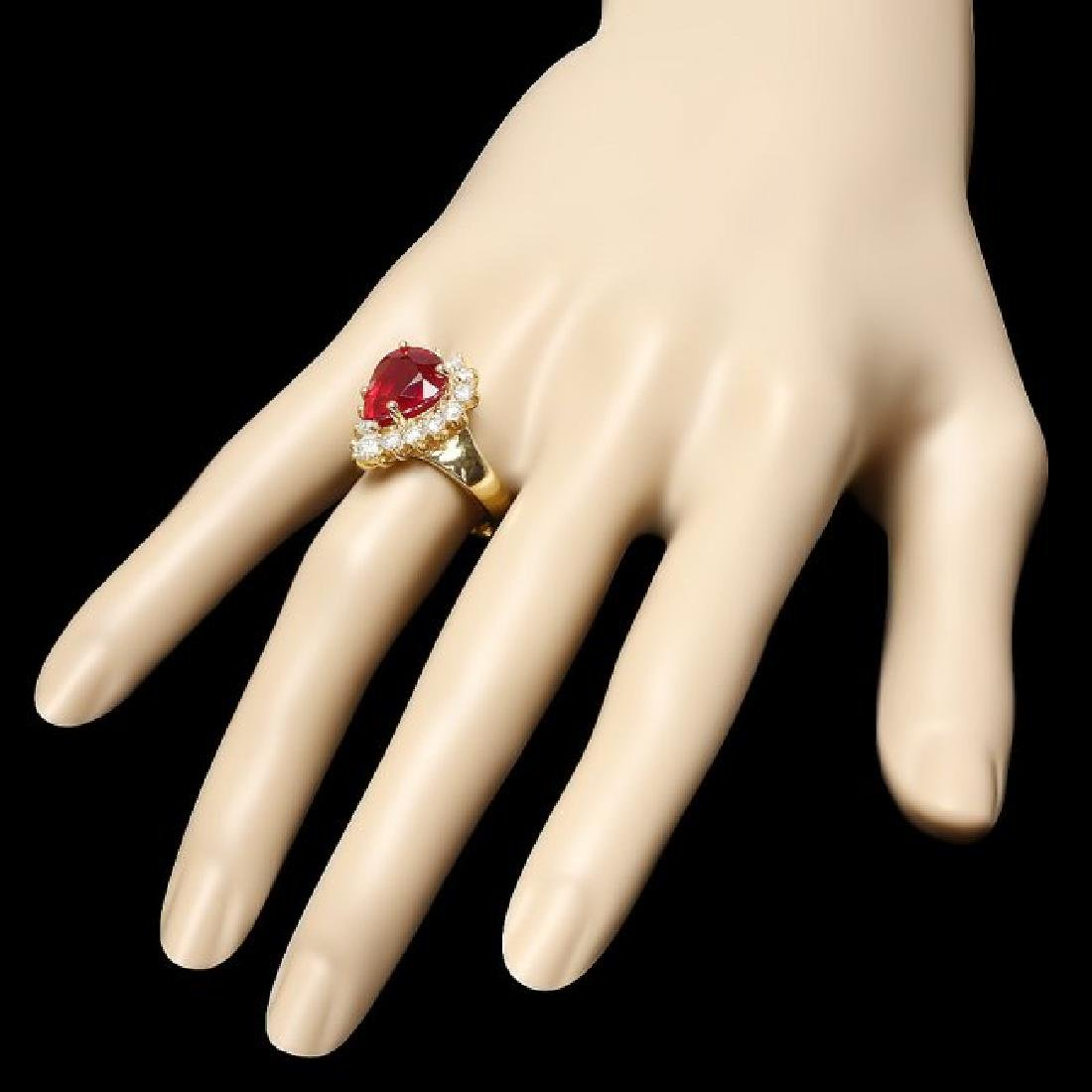 14k Yellow Gold 6.00ct Ruby 1.20ct Diamond Ring - 3