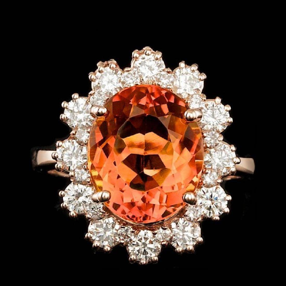 14k Rose Gold 4.50ct Citrine 1.30ct Diamond Ring