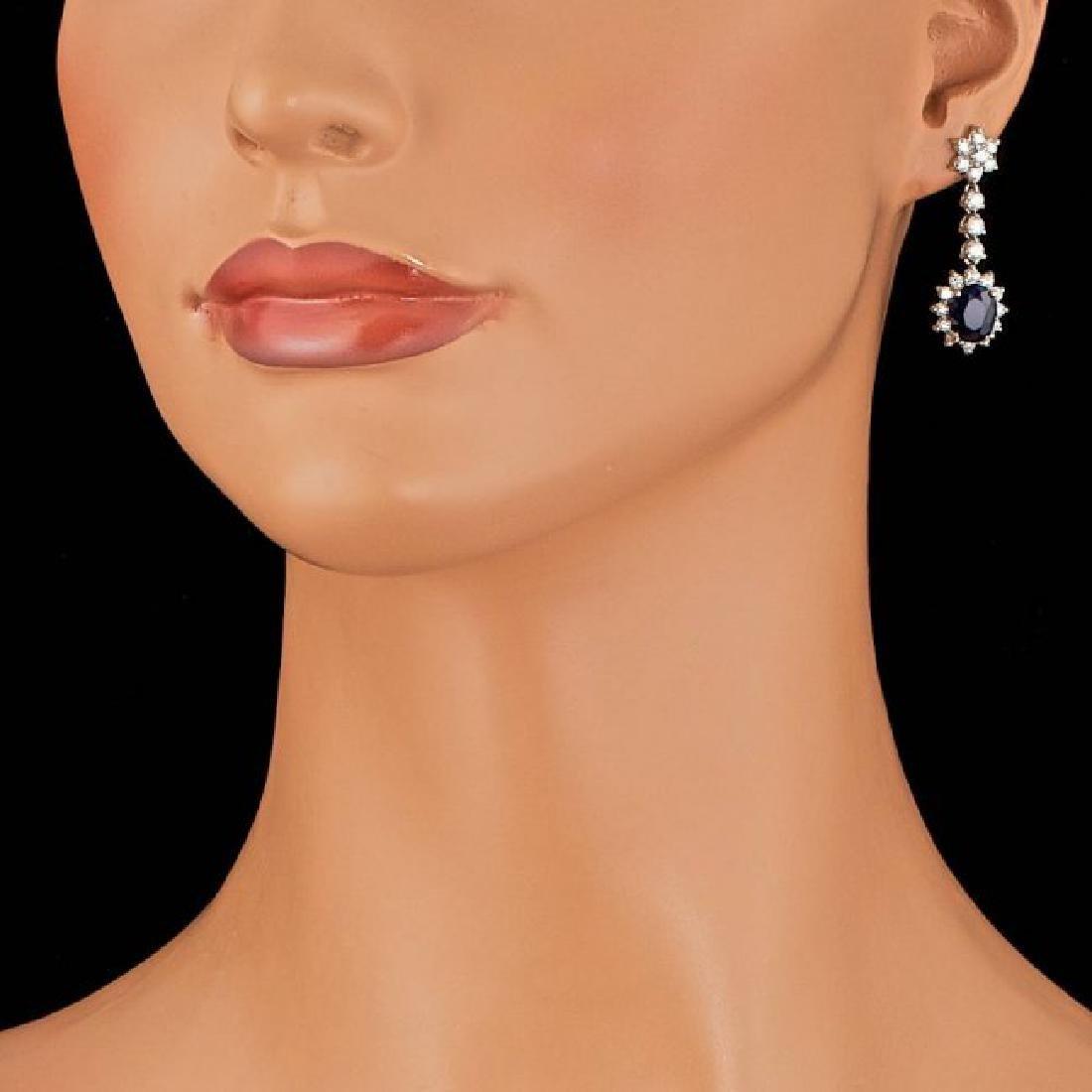 14k Gold 4.50ct Sapphire 2.35ct Diamond Earrings - 3