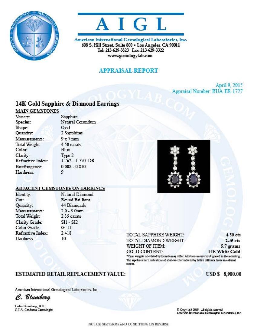 14k Gold 4.50ct Sapphire 2.35ct Diamond Earrings - 5