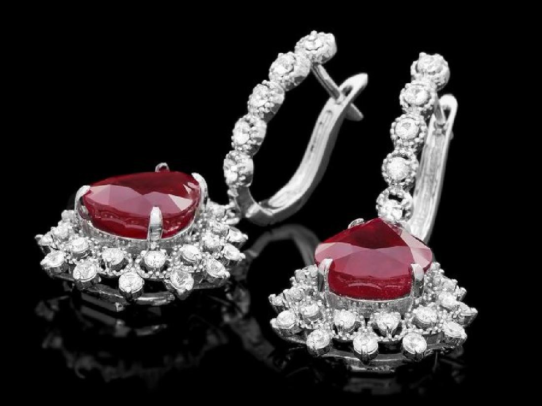 14k Gold 1.50ct Ruby 2.00ct Diamond Earrings