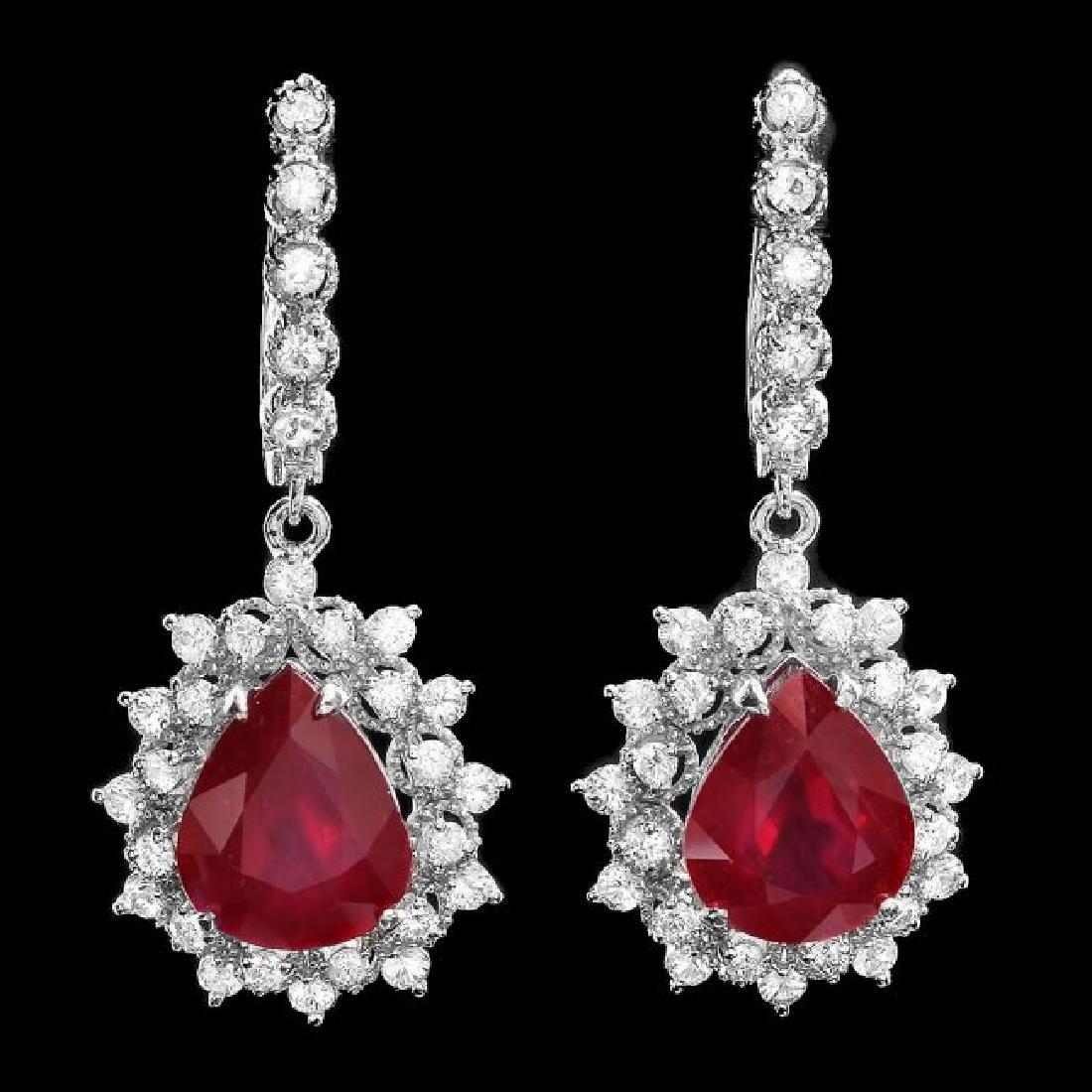 14k Gold 1.50ct Ruby 2.00ct Diamond Earrings - 2