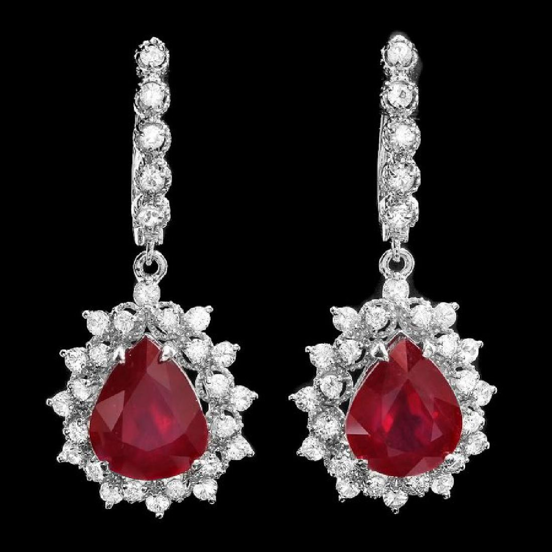 14k Gold 1.50ct Ruby 2.00ct Diamond Earrings - 2