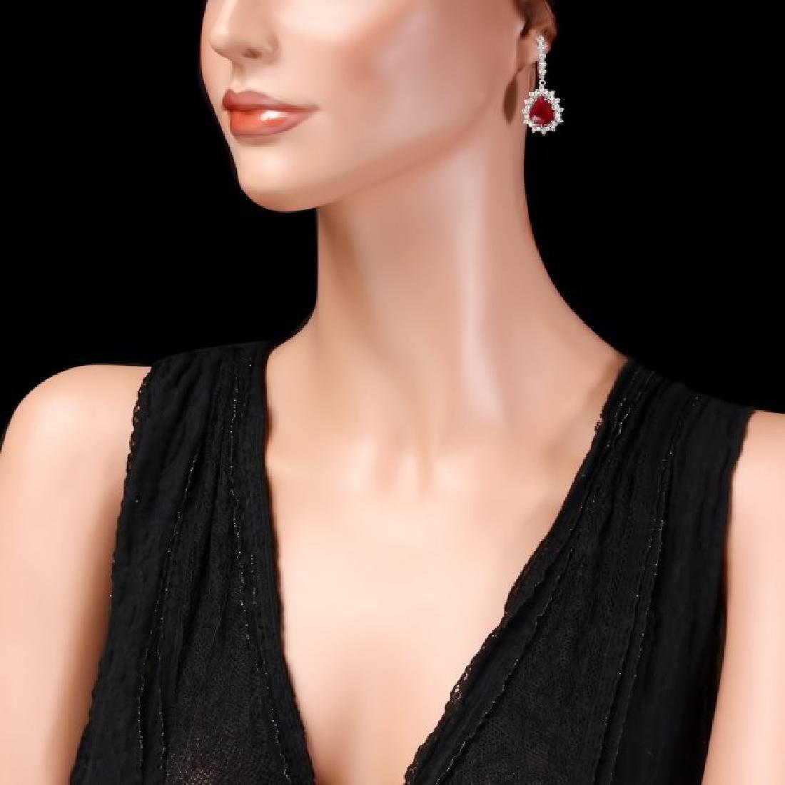 14k Gold 1.50ct Ruby 2.00ct Diamond Earrings - 3