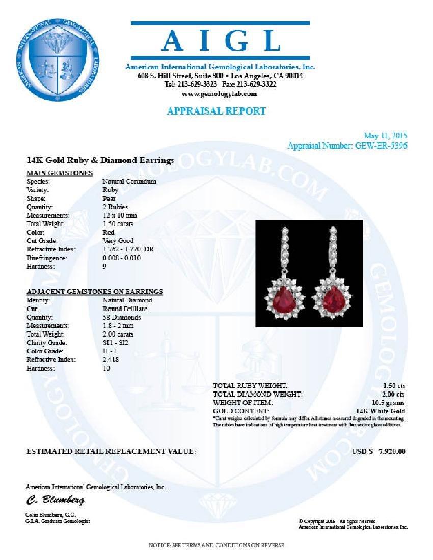 14k Gold 1.50ct Ruby 2.00ct Diamond Earrings - 4