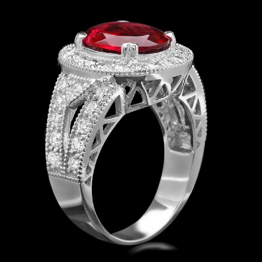 14k Gold 3.20ct Tourmaline 1.35ct Diamond Ring - 2