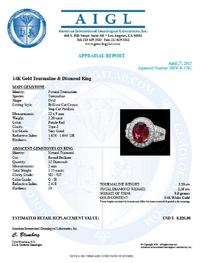 14k Gold 3.20ct Tourmaline 1.35ct Diamond Ring - 4