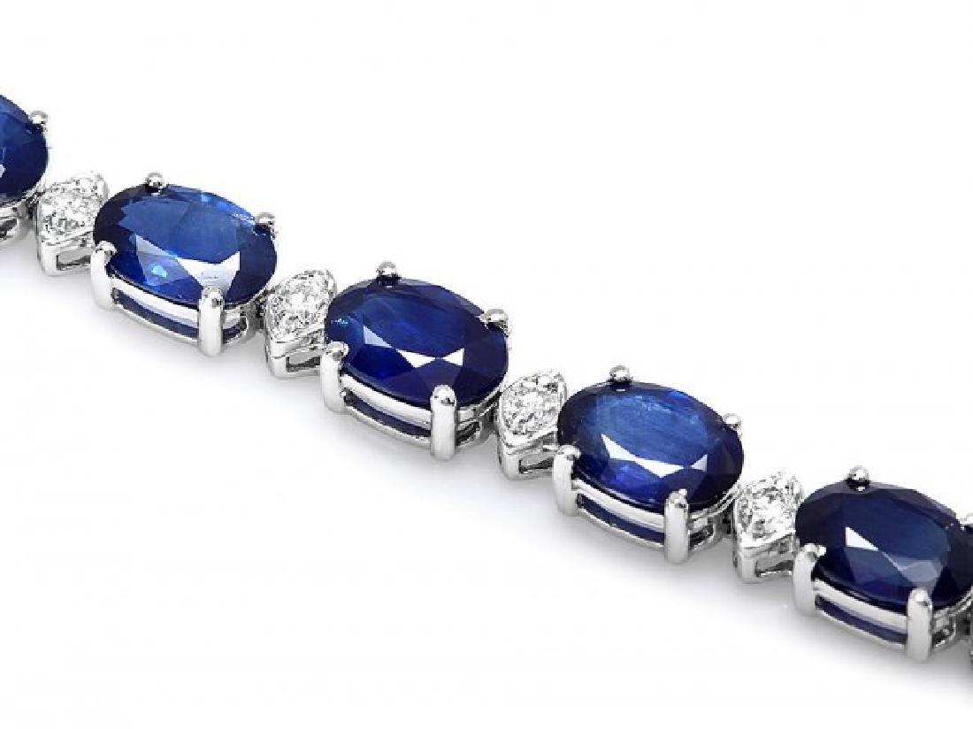 14k Gold 16ct Sapphire 0.75ct Diamond Bracelet - 2