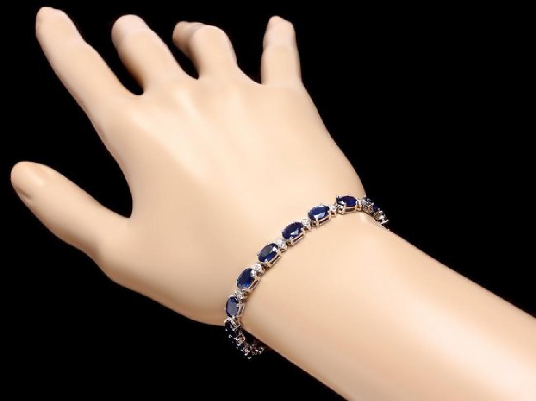 14k Gold 16ct Sapphire 0.75ct Diamond Bracelet - 5