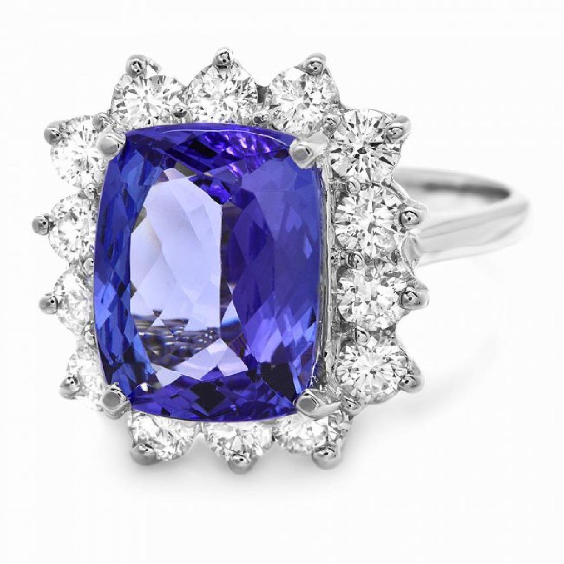 14k Gold 5.00ct Tanzanite 1.20ct Diamond Ring - 2