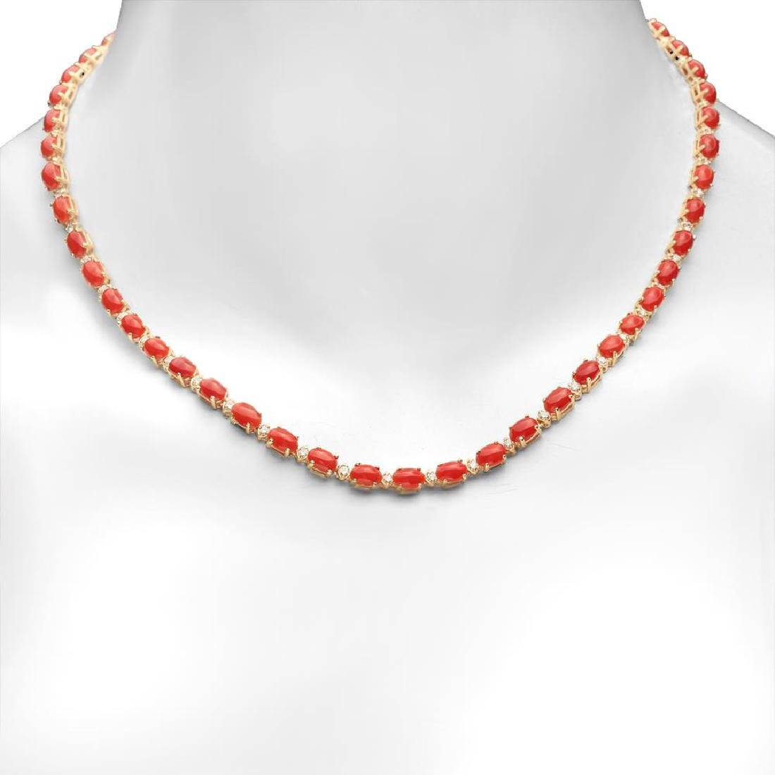 14K Gold 17.61ct Coral 1.17cts Diamond Necklace