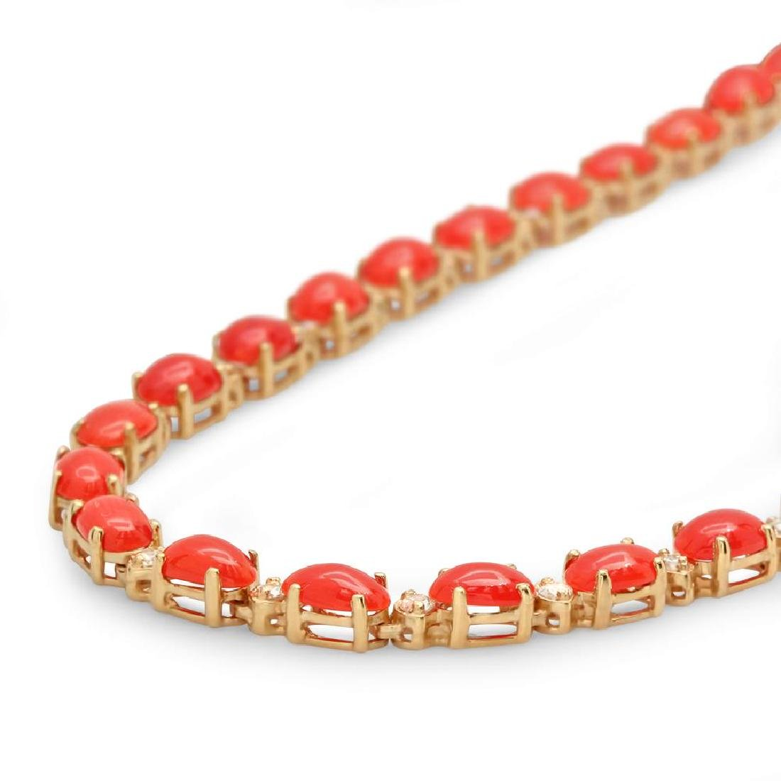 14K Gold 17.61ct Coral 1.17cts Diamond Necklace - 2