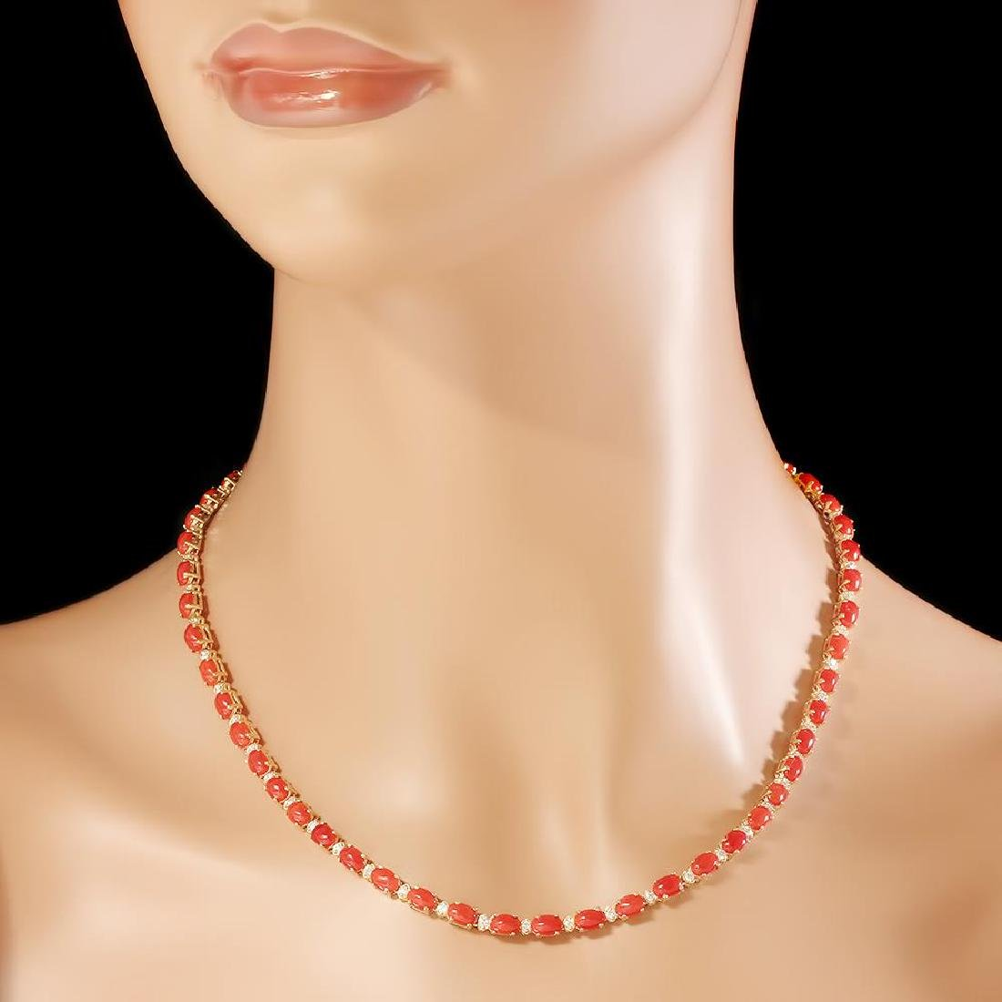 14K Gold 17.61ct Coral 1.17cts Diamond Necklace - 3