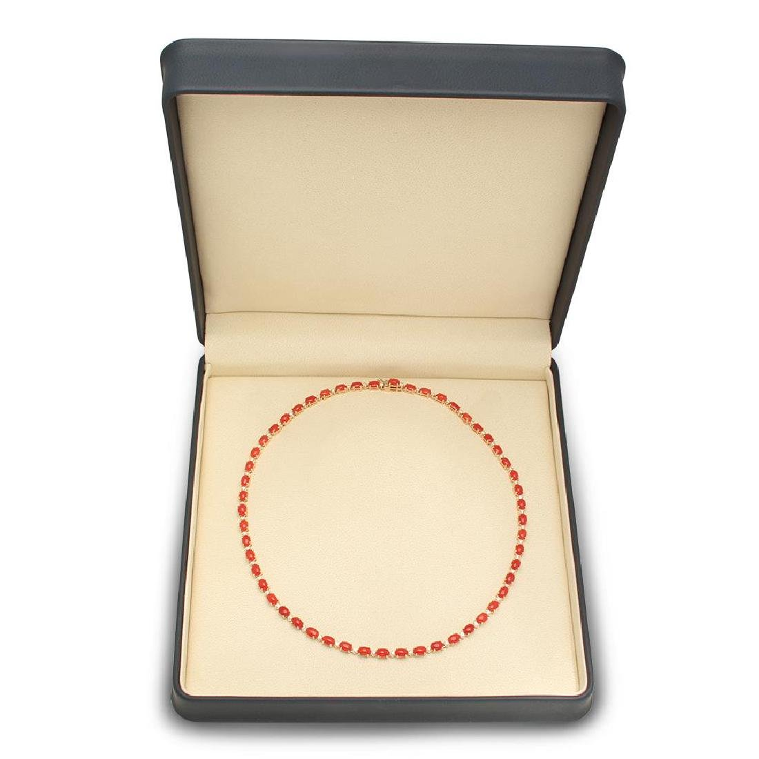 14K Gold 17.61ct Coral 1.17cts Diamond Necklace - 4