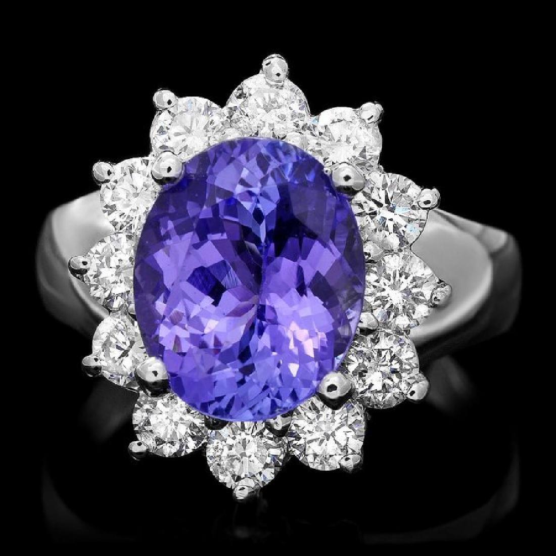 14k Gold 3.50ct Tanzanite 1.30ct Diamond Ring