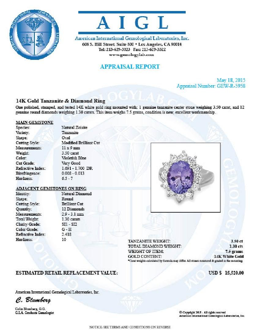 14k Gold 3.50ct Tanzanite 1.30ct Diamond Ring - 5