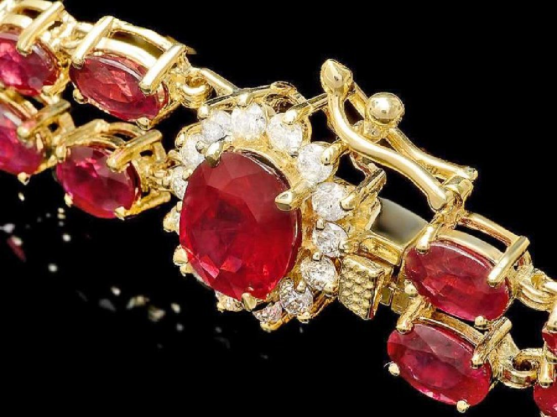 14k Yellow Gold 32ct Ruby 0.60ct Diamond Bracelet - 3