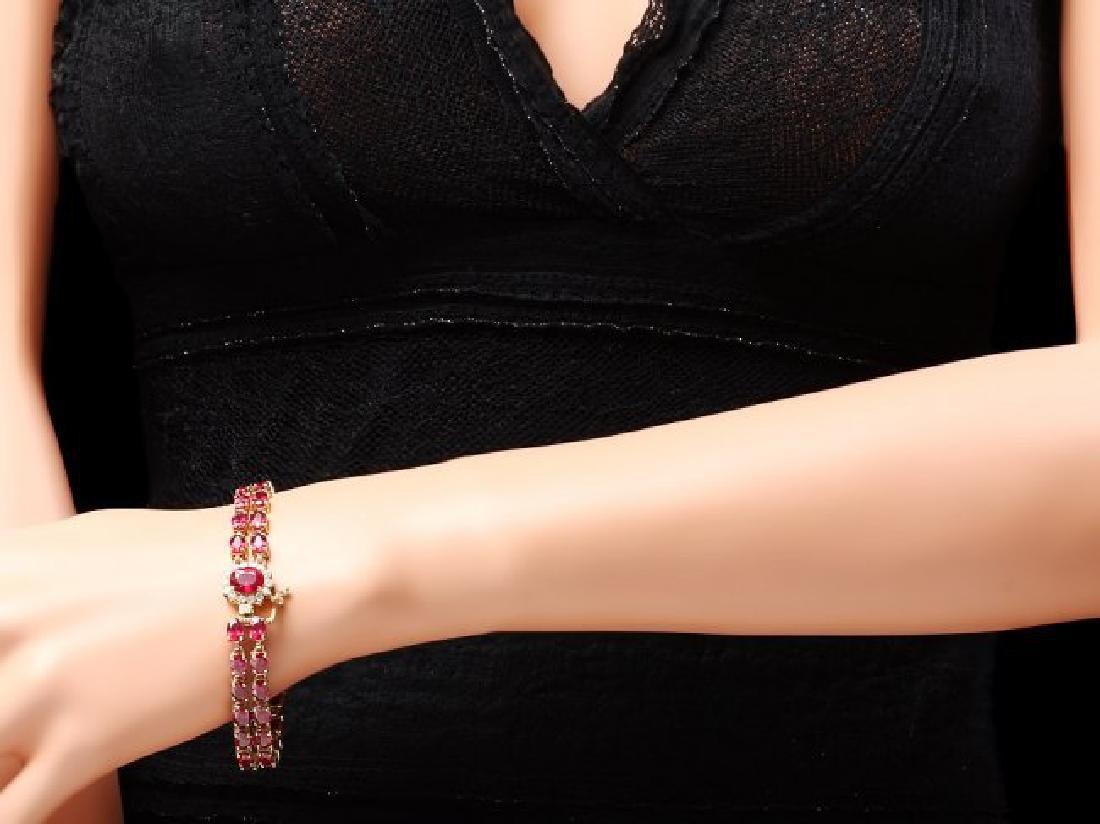14k Yellow Gold 32ct Ruby 0.60ct Diamond Bracelet - 4