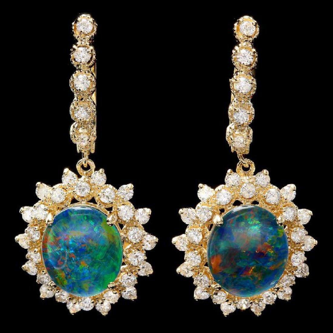 14k Gold 4.50ct Triplet Opal 2ct Diamond Earrings
